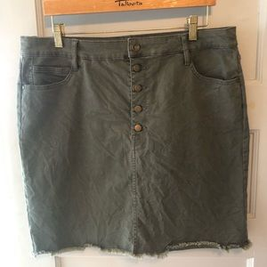 Olive Green Mini Skirt Button Front